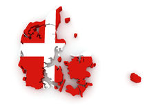 Three-dimensional map of Denmark. Royalty Free Stock Images