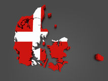 Three-dimensional map of Denmark. Royalty Free Stock Photos