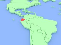 Three-dimensional map of Equador isolated. 3d Stock Photo