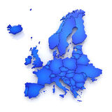 Three-dimensional map of Europe. Royalty Free Stock Images