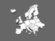 Three dimensional map of Europe Stock Photos