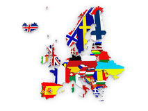 Three-dimensional map of Europe. Royalty Free Stock Image