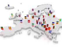Three-dimensional map of Europe. Stock Photo