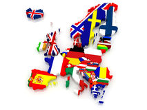 Three-dimensional map of Europe. Stock Photography