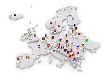 Three-dimensional map of Europe. Royalty Free Stock Photography