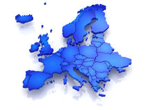 Three-dimensional map of Europe. Stock Image