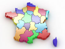 Three-dimensional map of France Royalty Free Stock Photo