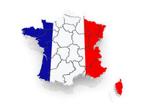 Three-dimensional map of France. Royalty Free Stock Photography