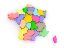 Three-dimensional map of France. Stock Images