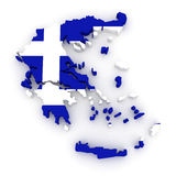Three-dimensional map of Greece. Stock Photos