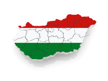Three-dimensional map of Hungary. Royalty Free Stock Images