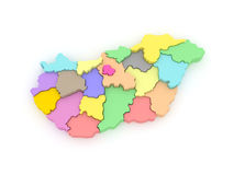 Three-dimensional map of Hungary. Stock Photography