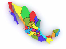 Three-dimensional map of Mexico Royalty Free Stock Photo