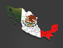 Three-dimensional map of Mexico Royalty Free Stock Images
