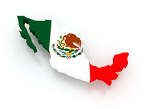 Three-dimensional map of Mexico. Royalty Free Stock Photo