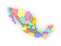 Three-dimensional map of Mexico. Royalty Free Stock Images