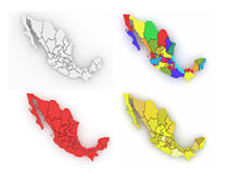 Three-dimensional map of Mexico on white isolated background Royalty Free Stock Images