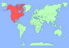 Three-dimensional map of North-America isolated. Royalty Free Stock Photo