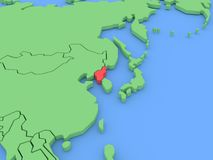Three-dimensional map of North Korea isolated. 3d Royalty Free Stock Images