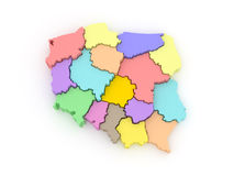 Three-dimensional map of Poland. Stock Photography