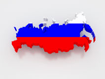 Three-dimensional map of Russia. stock illustration