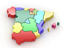 Three-dimensional map of Spain. 3d Royalty Free Stock Photo