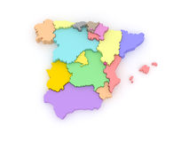 Three-dimensional map of Spain. Stock Images