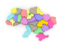 Three-dimensional map of Ukraine. Royalty Free Stock Photos