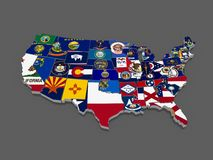 Three-dimensional map of USA. Royalty Free Stock Images