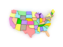 Three-dimensional map of USA. Royalty Free Stock Image