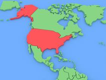Three-dimensional map of USA isolated. 3d Royalty Free Stock Image