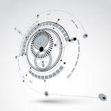 Three-dimensional mechanical scheme, monochrome vector engineering Royalty Free Stock Images