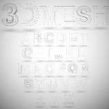 Three dimensional mesh stylish alphabet on white. 3d mesh stylish alphabet on white background, single color clear vector Stock Photography
