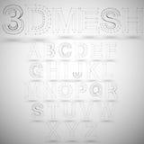 Three dimensional mesh stylish alphabet on white Stock Photography
