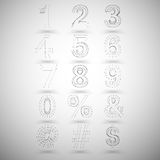 Three dimensional mesh stylish numbers and other Royalty Free Stock Photos