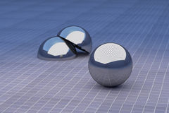 Three-dimensional metal balls on glazed floor Stock Photography