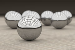 Three-dimensional metal balls reflecting glass ceiling Stock Image