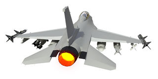 The three-dimensional model of a military aircraft of the NATO countries. Aircraft with full ammunition. The armament of the aircr Royalty Free Stock Photo