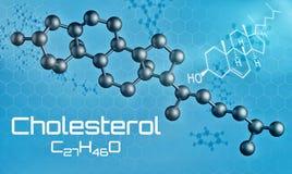 Three-dimensional molecular model of Cholesterol. 3d render Stock Illustration