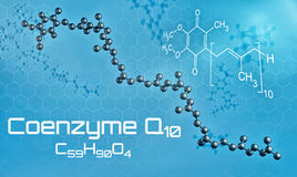 Three-dimensional molecular model of Coenzyme Q10. 3d render vector illustration
