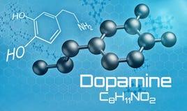 Three-dimensional molecular model of Dopamine. 3d render Stock Photos