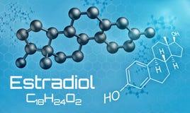 Three-dimensional molecular model of Estradiol. 3d render Royalty Free Stock Photo