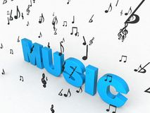 Three dimensional music text Royalty Free Stock Photo