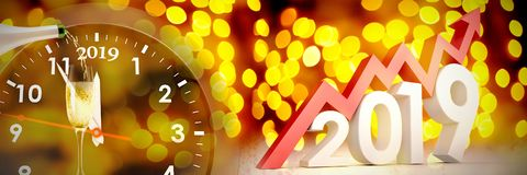 Composite image of three dimensional new year numbers with arrow. Three dimensional new year numbers with arrow against unfocused yellow christmas light vector illustration