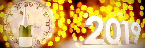 Composite image of three dimensional new year numbers in gray color. Three dimensional new year numbers in gray color against unfocused yellow christmas light royalty free illustration