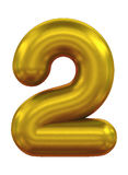Three-dimensional number in gold. 3d rendering balloon number in gold on a white background Stock Photos