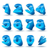 Three-dimensional number set 0-9 with percent off. Vector illustration of 3D font characters. Blue style numbers for promotion element Stock Image