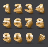 Three-dimensional number set 0-9 with percent off. Royalty Free Stock Photography
