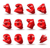 Three-dimensional number set 0-9 with percent off. Royalty Free Stock Images