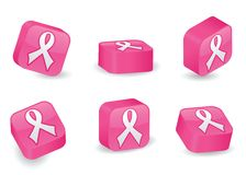 Three-Dimensional Pink Ribbon Blocks Royalty Free Stock Photography